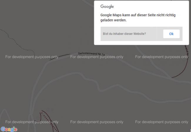 Google Maps ohne API-Key nur für Entwicklungszwecke